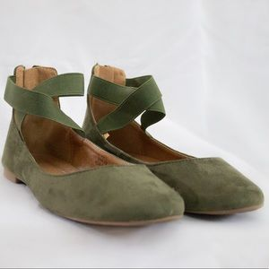Olive Strappy Flats